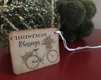 Vintage Christmas Bicyle Gift Tags