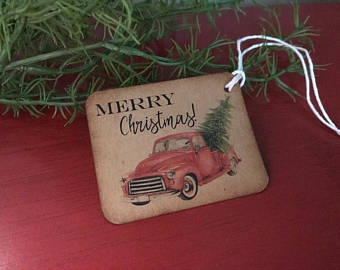 Little Red Truck Christmas Gift Tags