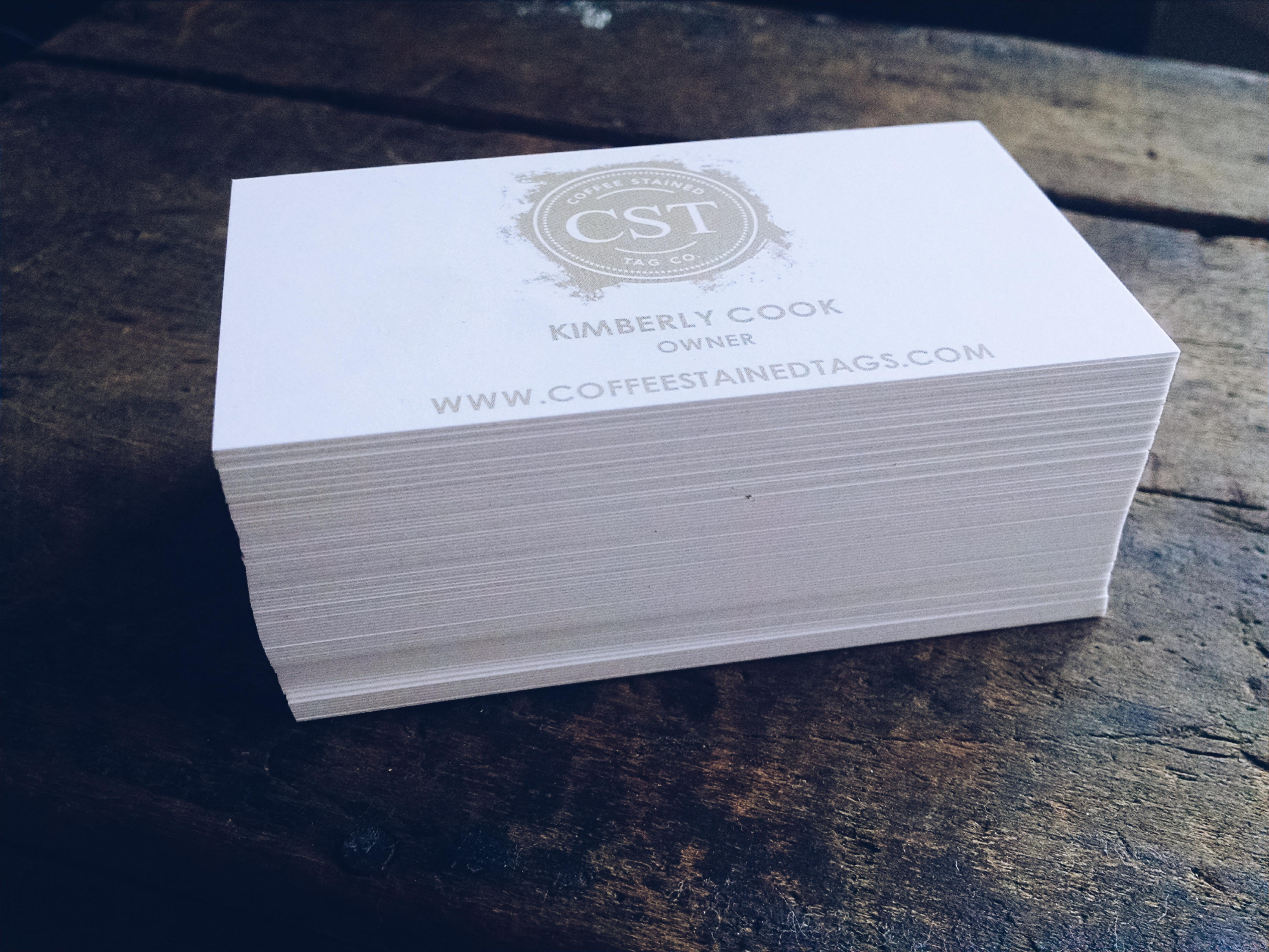 Custom printed business cards coffee stained tag company colourmoves