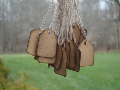 Extra Small Scalloped Hang Tags - Coffee Stained Tag Company