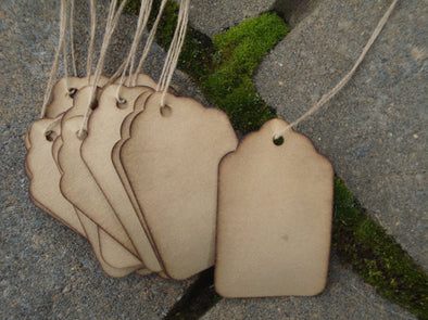 Large Scalloped Hang Tags - Coffee Stained Tag Company