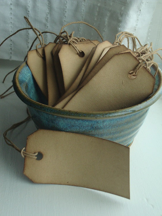 Traditional Stained Hang Tags, size 2 - Coffee Stained Tag Company