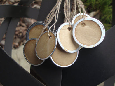 Small Metal Rim Tags - Coffee Stained Tag Company