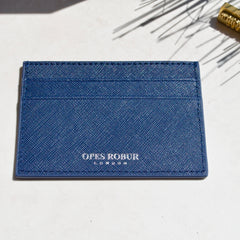 Blue Saffiano Leather Cardholder