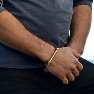 Gold XL Screw Cuff Bracelet - Opes Robur