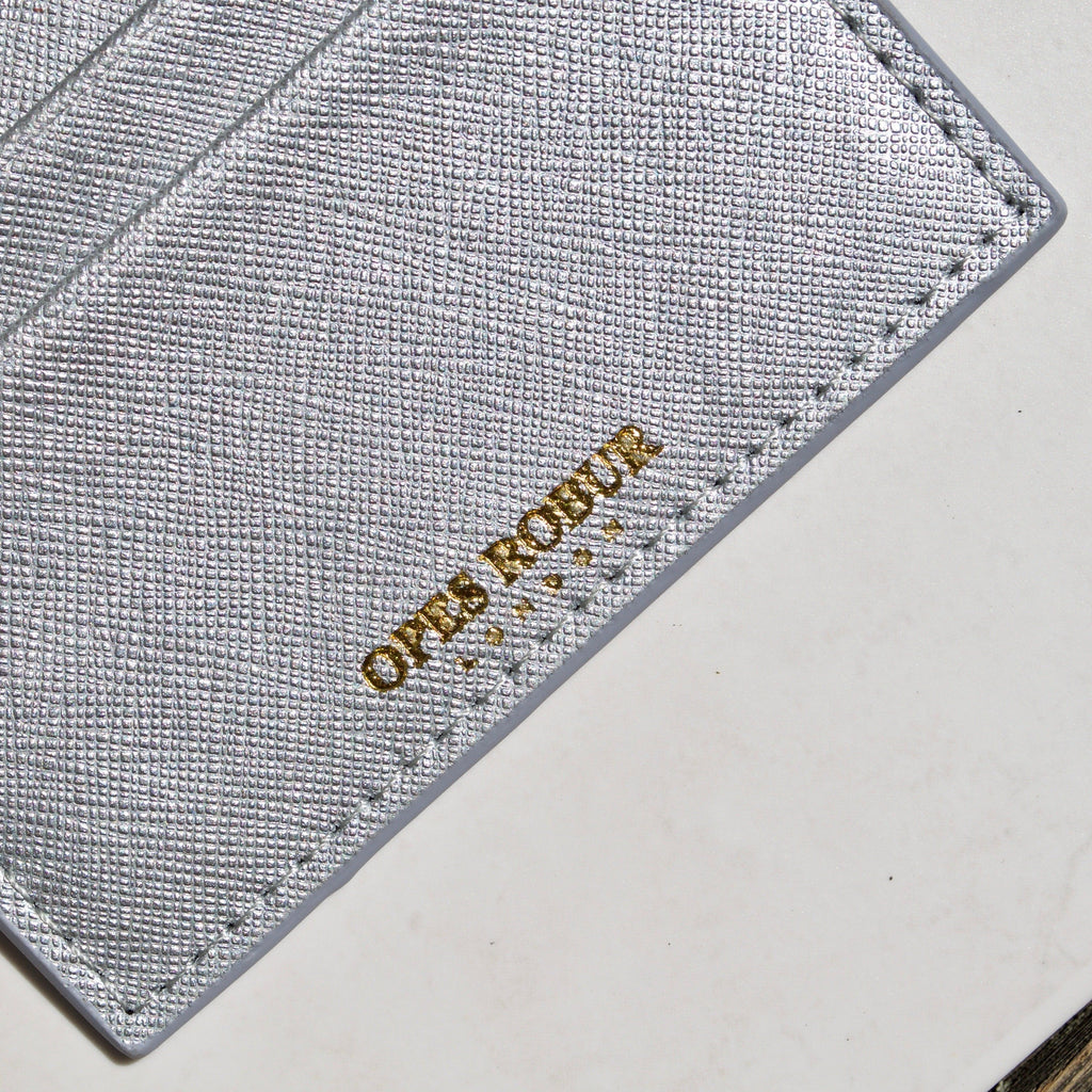 Silver Saffiano Leather Cardholder