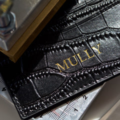 Black Croc Leather Cardholder