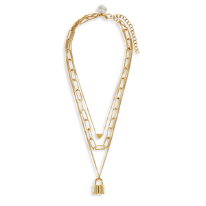 GOLD TRIPLE LAYER HEART CHAIN
