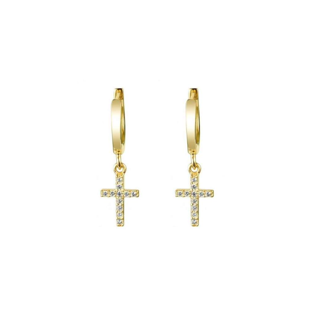 CROSS CHARM DROP STUDS