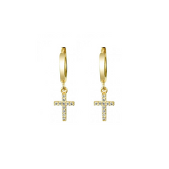 Cross Charm Drop Stud