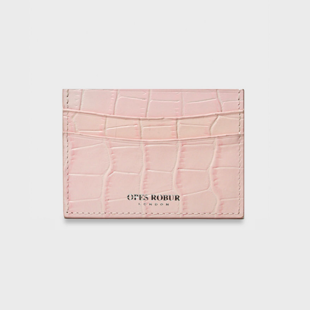 Pink Croc Leather Cardholder