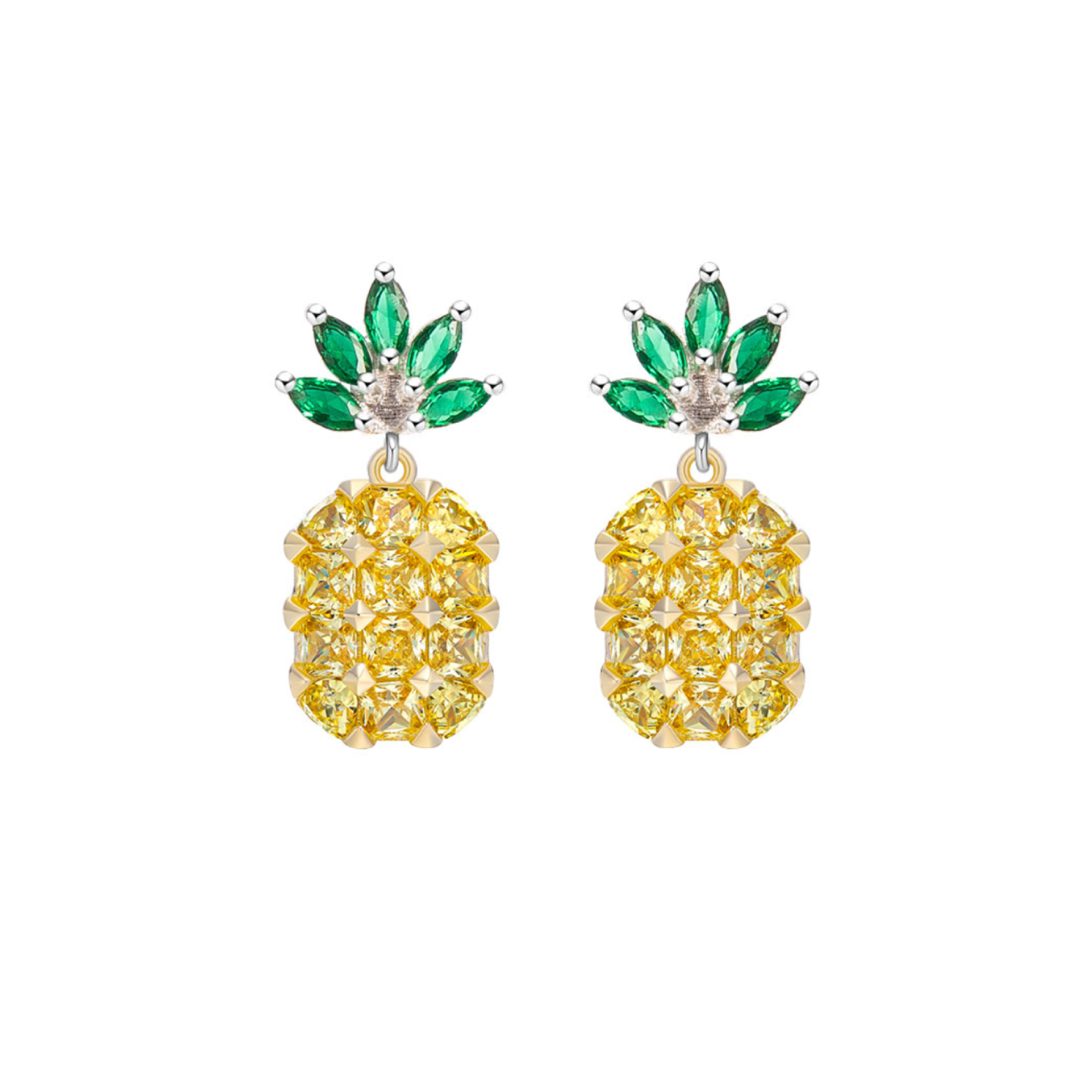 Sterling Silver Mini Pineapple Gemstone Earrings