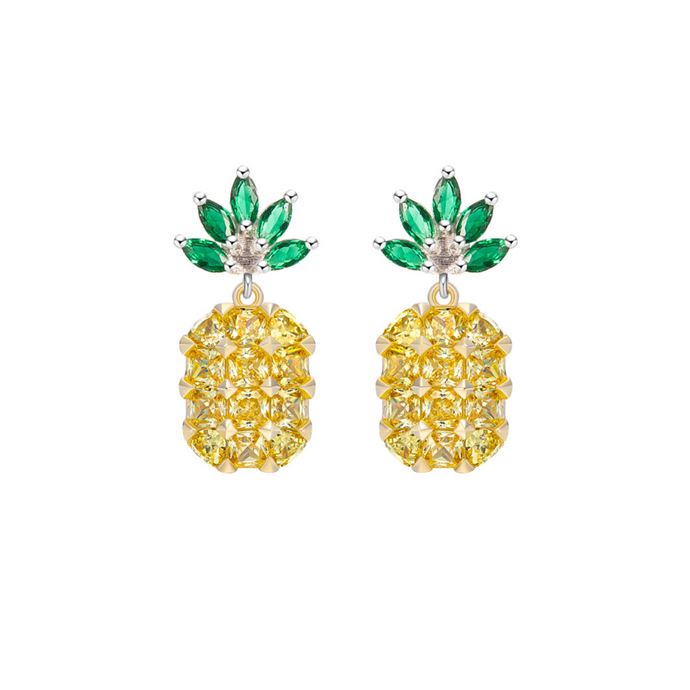 Sterling Silver Mini Pineapple Gemstone Earrings - Opes Robur