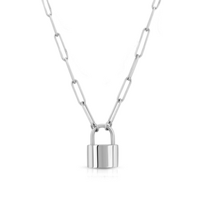 SILVER PADLOCK NECKLACE