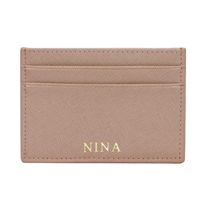 Nude Saffiano Leather Cardholder