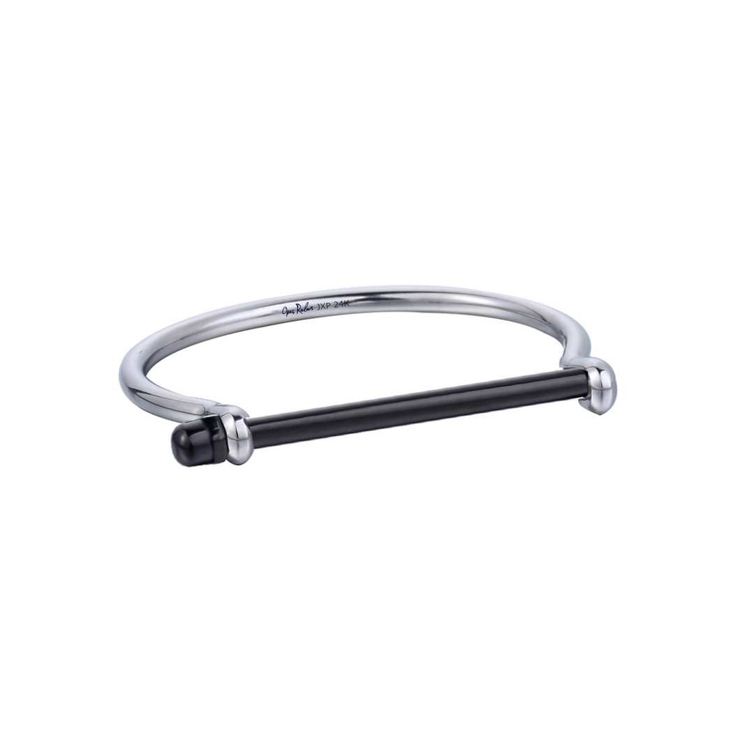 Silver And Black Screw Cuff Bracelet - Opes Robur