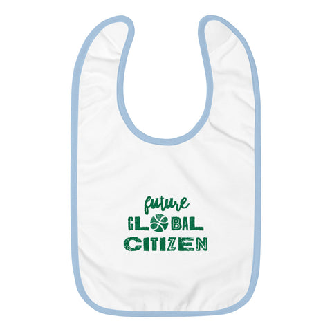 """Future Global Citizen"" Embroidered Baby Bib"