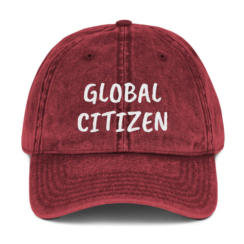 """GLOBAL CITIZEN"" Vintage Cotton Twill Cap"