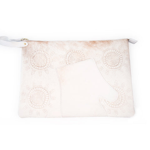 BRBF Amoret Calf Skin Clutch in Neutral