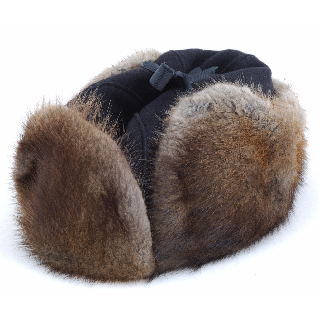 75c45afe16a Mountie Style Muskrat with Black Melton - winterfurhats