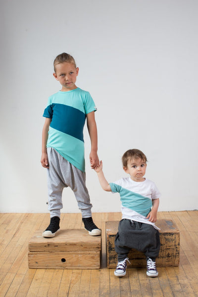 Kezzie two tone tee - aqua + everglades