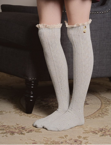 Gray Boot Sock with Lace Trim