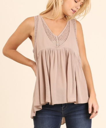 High-Low Tank with Lace Front and Back Details (S-L)