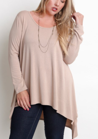 Tan High Low Tunic (XL-2XL)