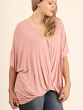 Cross Front Tee in Rose (XL-2XL)