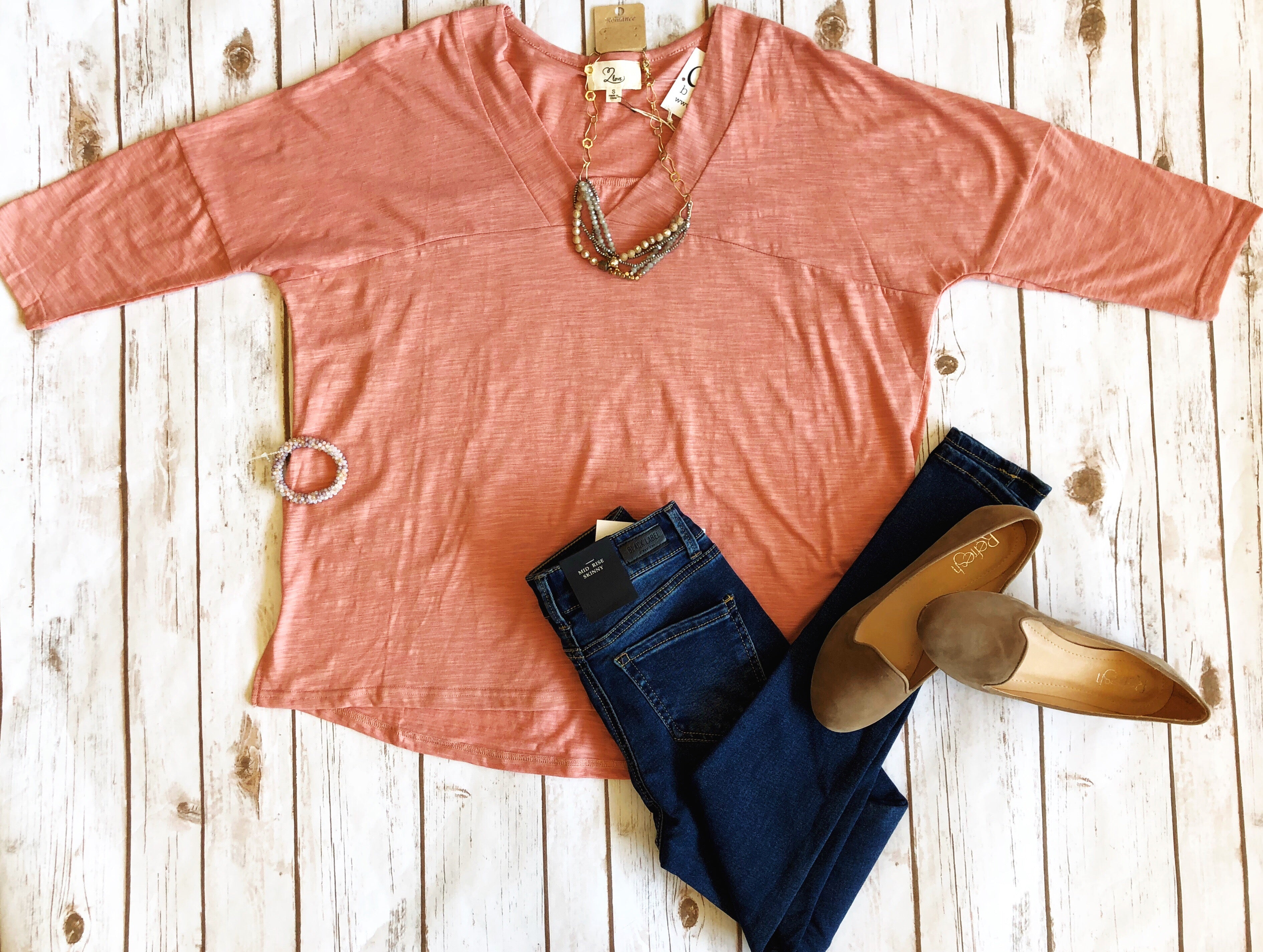 """Meredith"" V Neck Top"