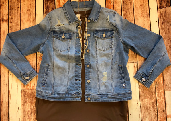 """Chelsea"" Distressed Denim Jacket"
