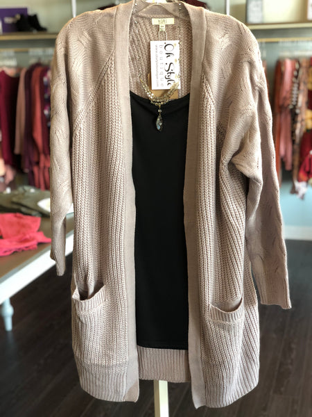 """Monica"" Twisted Sleeve Cardigan"