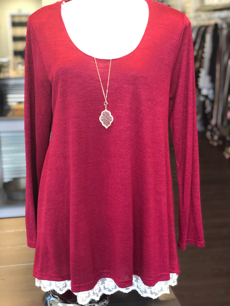 """Ann"" Lace Trim Tunic"