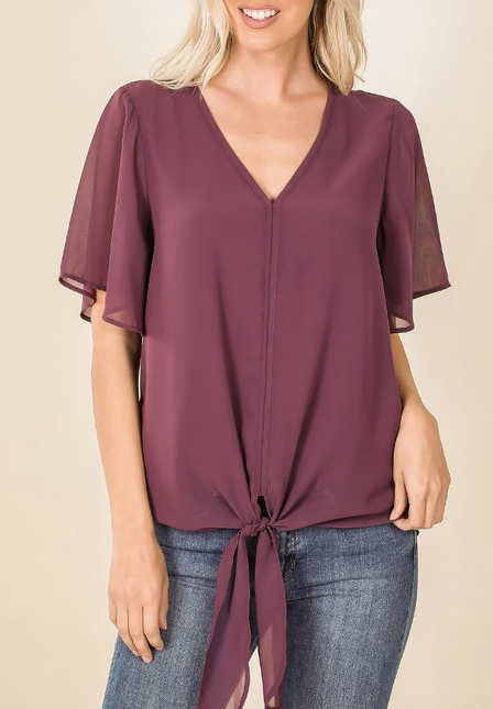"""Willa"" Tie Front Blouse"