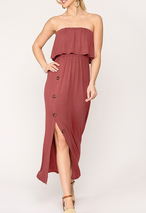 """McKenna"" Strapless Maxi Dress"