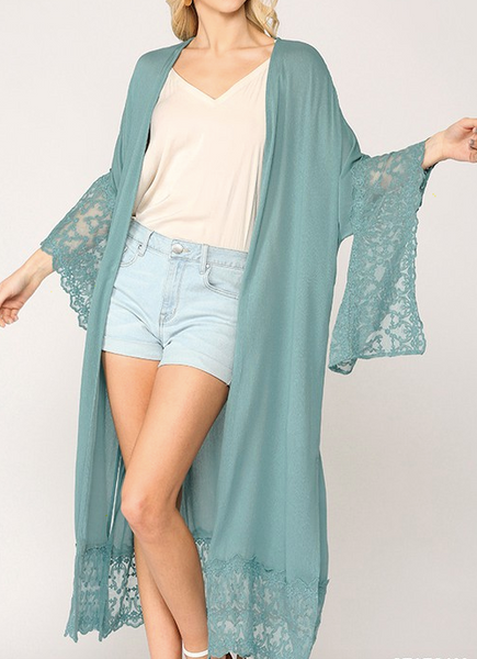 """Ada"" Lace Trim Duster"