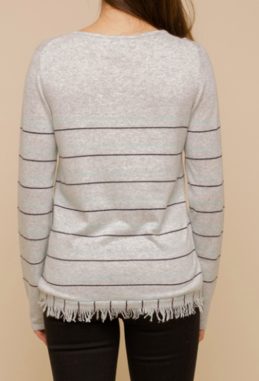 """Fia"" Frayed Stripe Sweater"