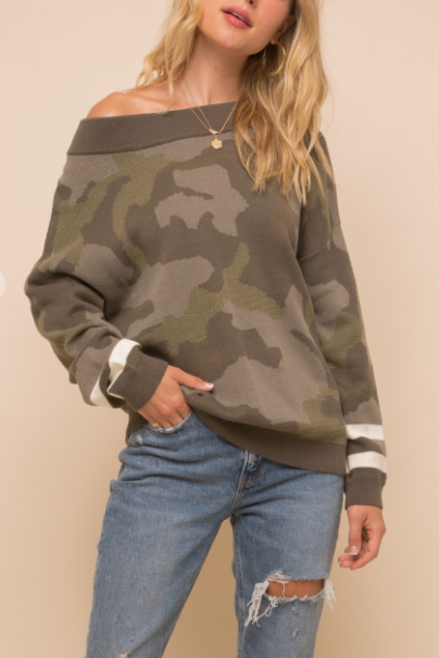 """Penelope"" Camo Sweater"