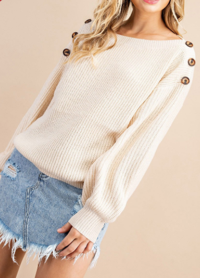 """Beverly"" Button Detail Sweater"