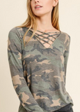 """Ellie"" Criss Cross Camo Top"