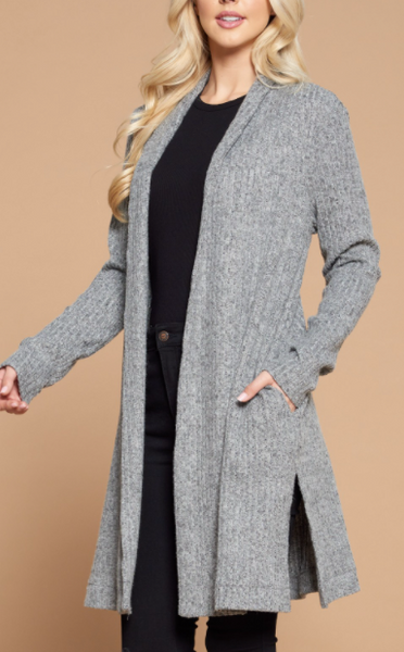 """Mila"" Side Slit Cardigan"