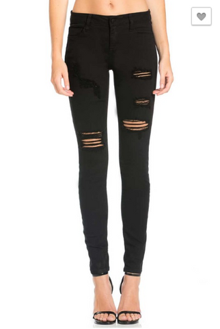 Black Distressed Skinny Jean (1-22)