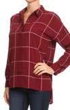 Thin Line Plaid Blouse in Burgundy (1XL-3XL)