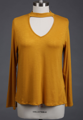 Knit Top with Keyhole Detail in Mustard (1XL-3XL)