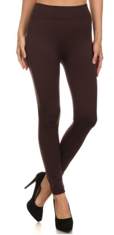 Brown Fleece Lined Legging (One Size & OS Plus)