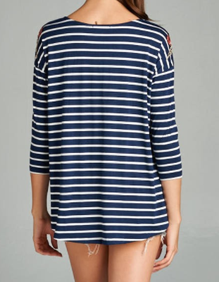 Navy + White Stripe Top with Floral Embroidery