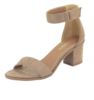 Taupe Heel with Ankle Strap