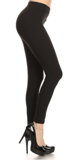 Peach Skin Leggings in Black (One Size - Plus, One Size - Missy)