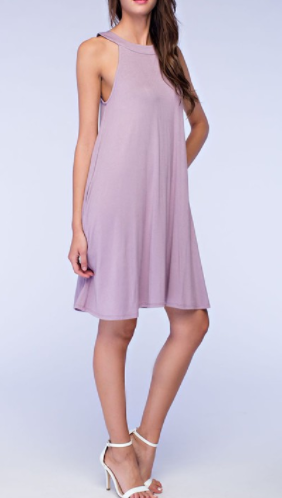 Plum Halter Dress with Pockets (S-L)