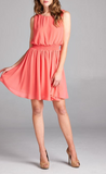 Coral Chiffon Dress (S-L)